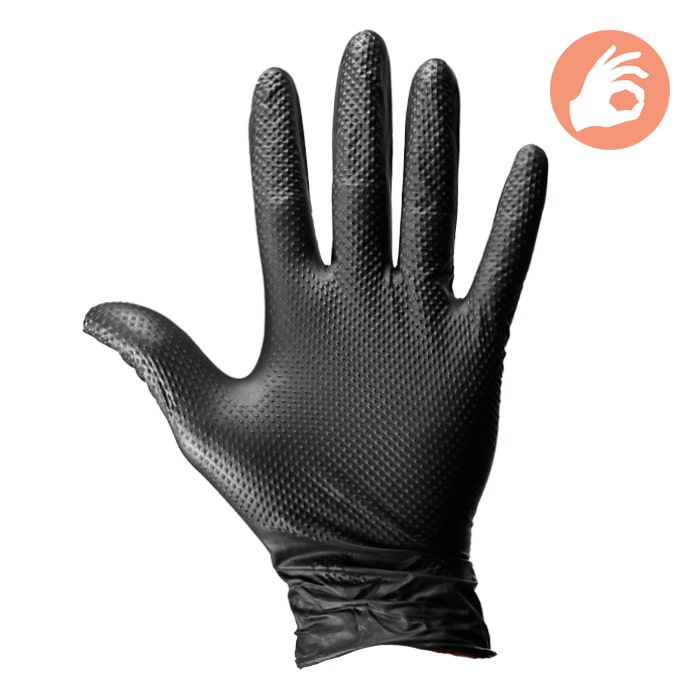Dirt Defense 6mil Diamond Grip Gloves 100 PACK Large