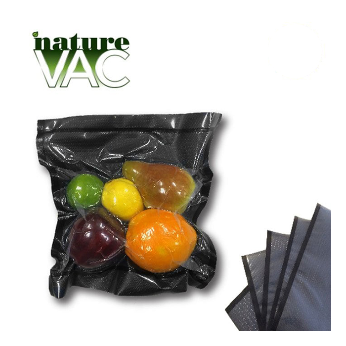 NatureVAC 11 X 24 Pre - Cut Vacuum Seal Bags Black / Clear - 50 PACK